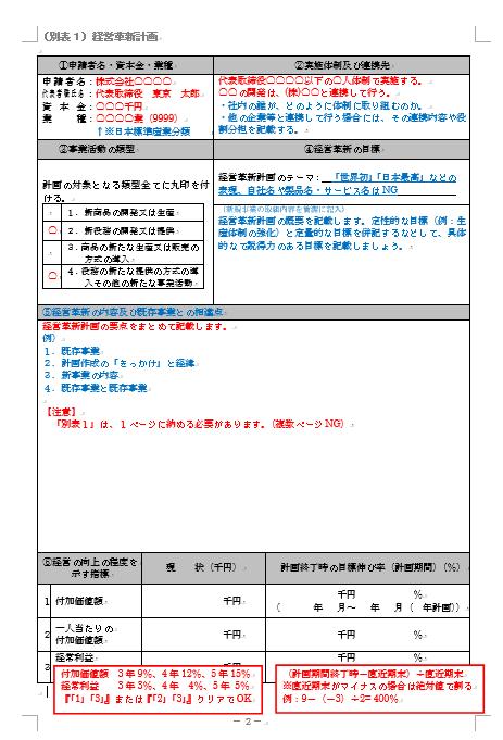 経営革新計画 記入方法 別表1